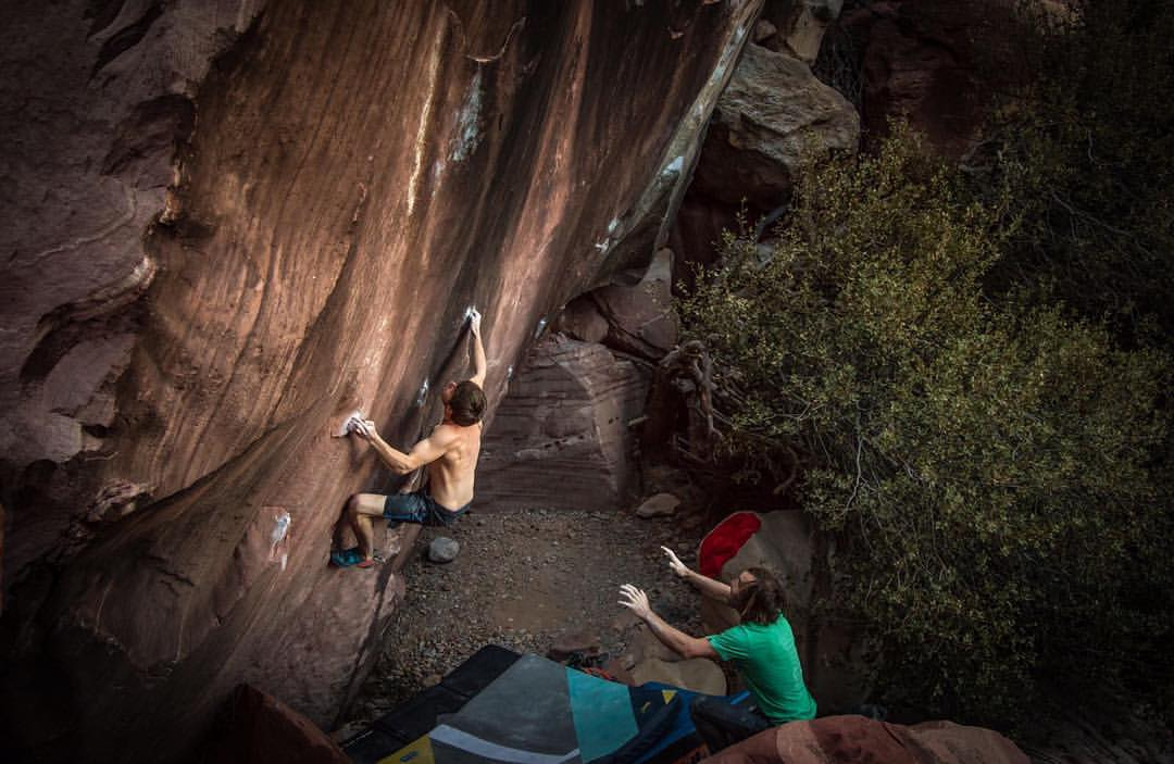 Pol Roca en Red Rocks en Las Vegas con Chris Sharma