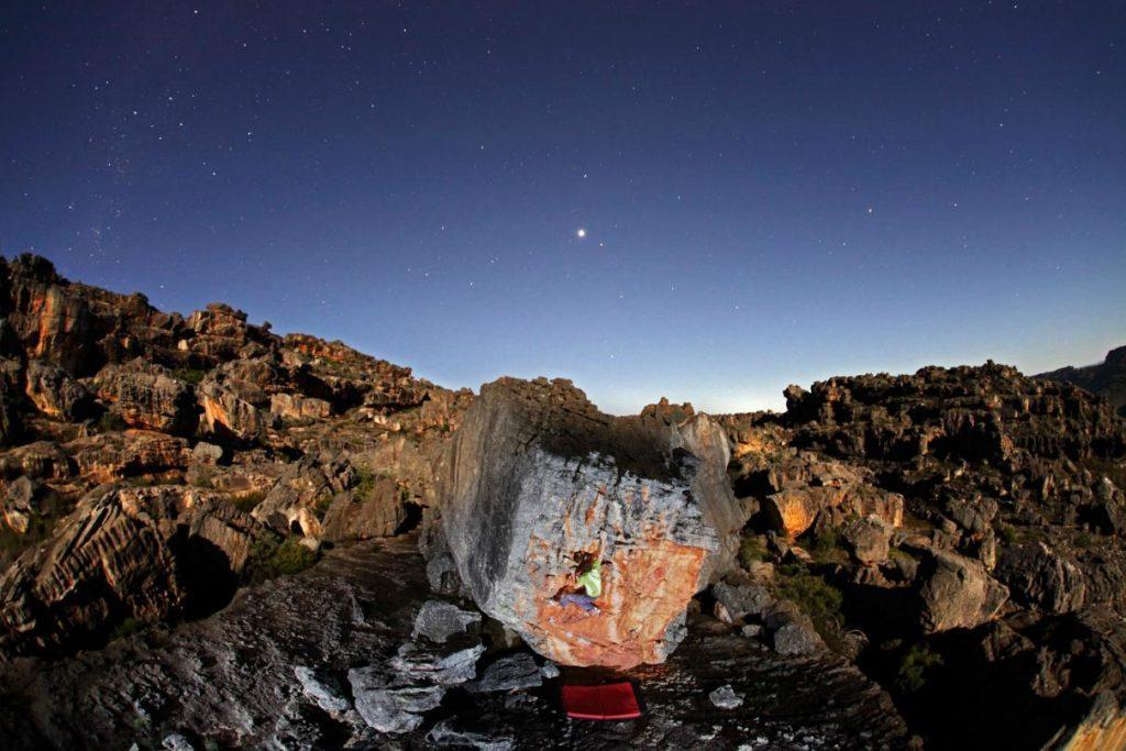 boulder nocturno en Rocklands