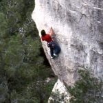 Wolfgang Güllich escalando en 'Queda Usted Despedido' 7c+ Can Rebotat Siurana 2