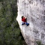 Wolfgang Güllich escalando en 'Queda Usted Despedido' 7c+ Can Rebotat Siurana 4