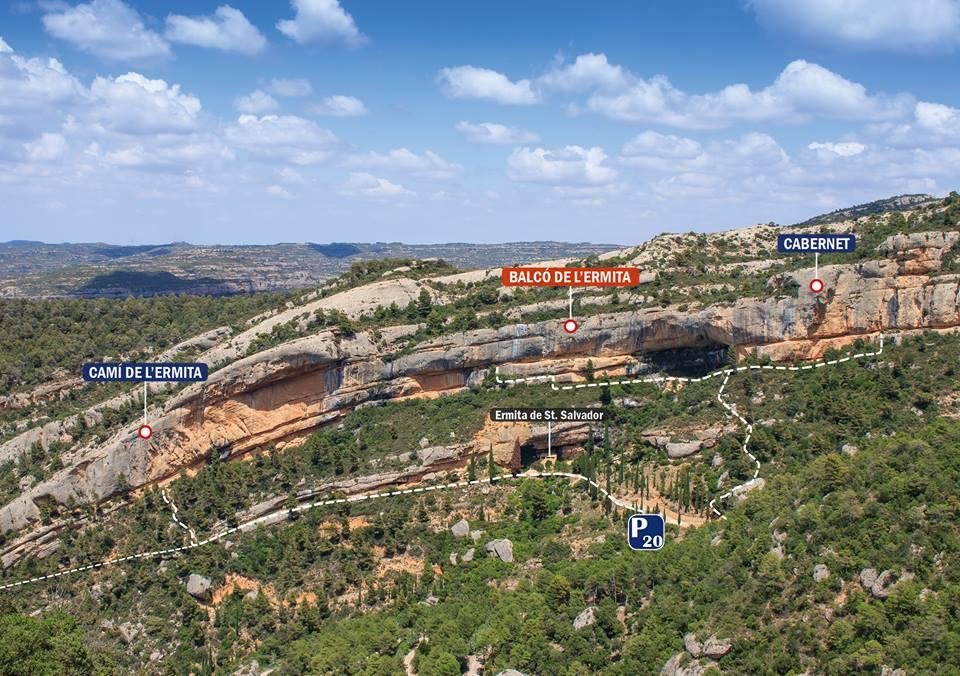 Margalef localización sectores escalada