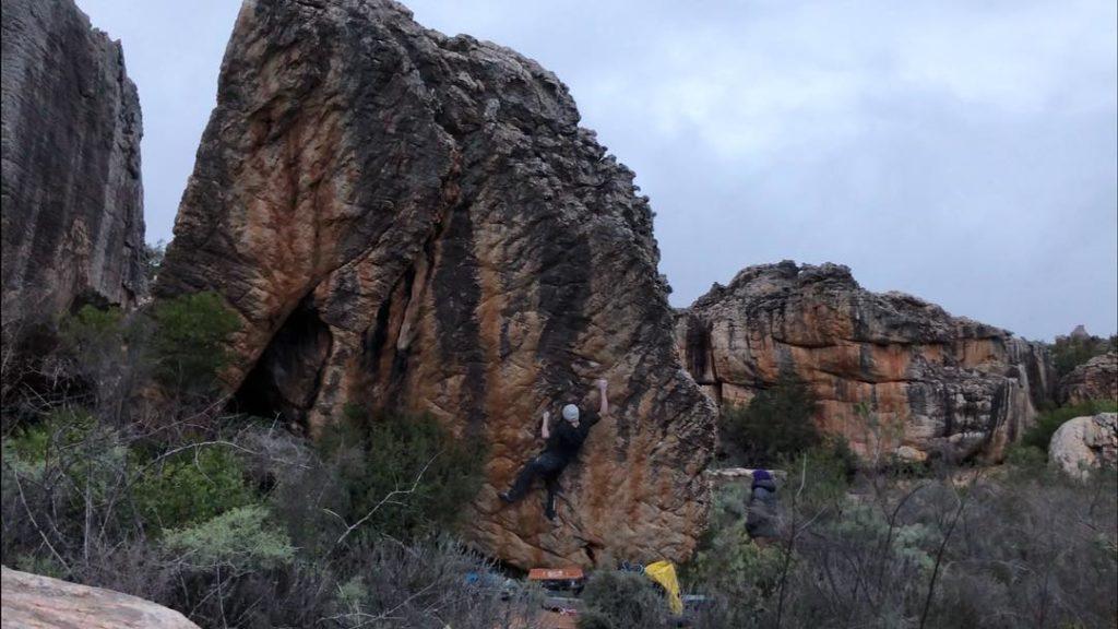 Dave Graham escalando en Rocklands