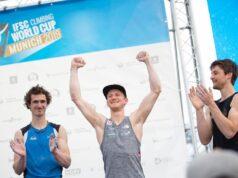 Podio masculino en IFSC Múnich 2019
