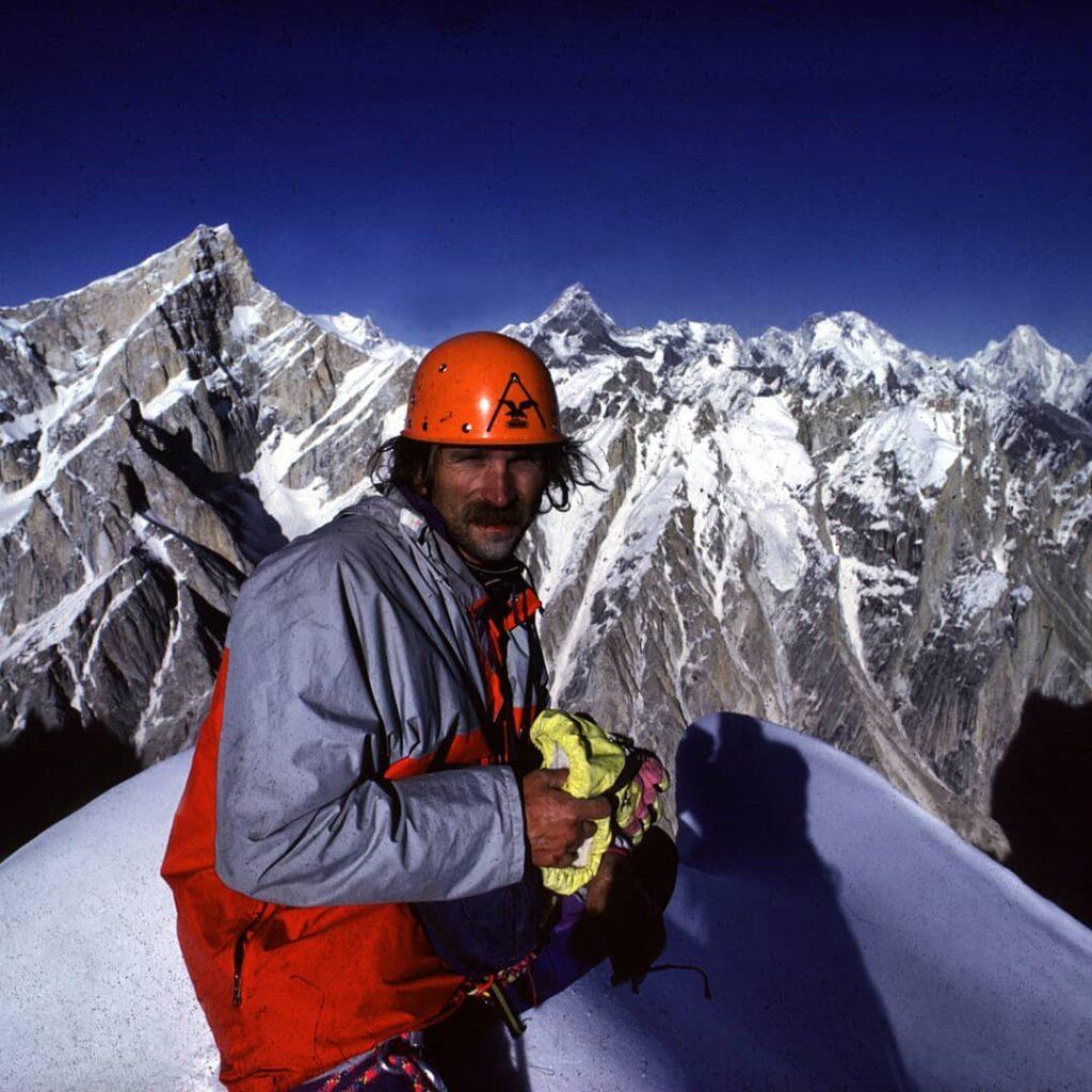 Kurt Albert en la cima de la Torre Sin Nombre