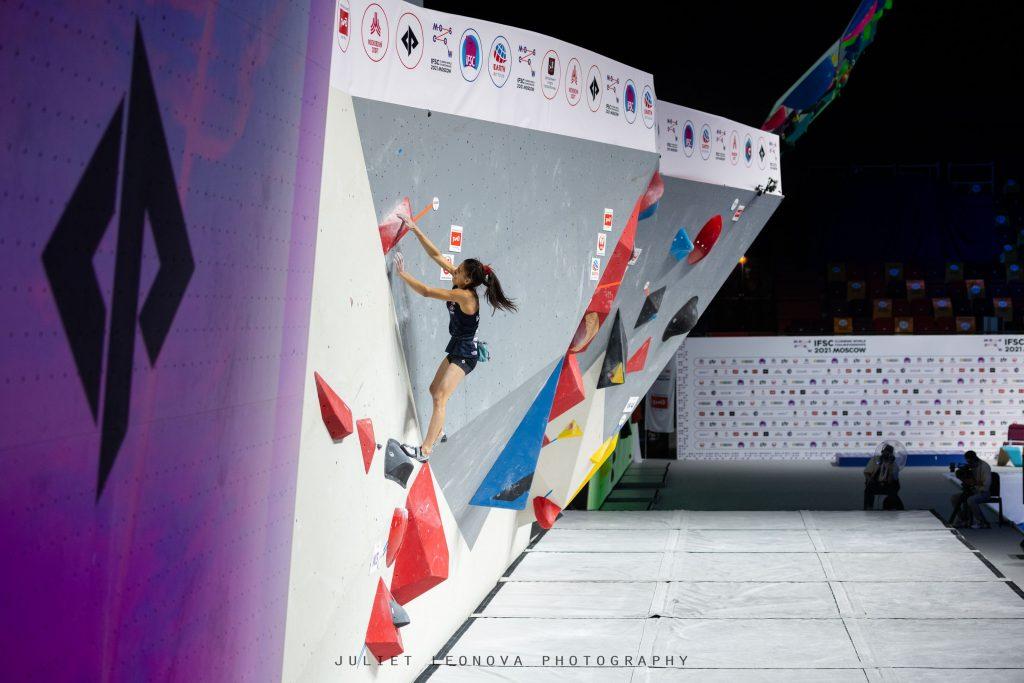 Natalia Grossman en la final de boulder de Moscú 2021